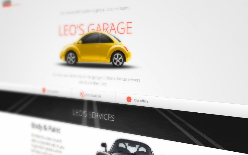 Leo`s Garage Website - Tessella Design Studio, Web Design