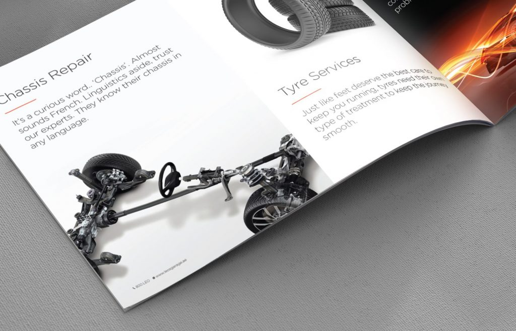 Leo`s Garage Corporate Brochure - Tessella Design Studio, I Feel Bar Logo