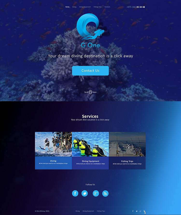 Diving Website design