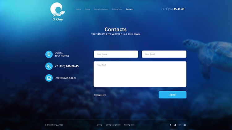 Diving Centre website design in Dubai