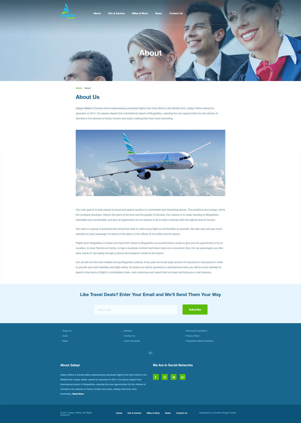 Galeyr Airline About Page design